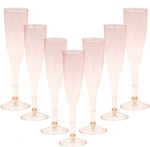 Homy Feel Gold Glitter Plastic Pink Wine Glasses 30 Pack, Champagne Flutes Disposable for New Years Eve Party,Plastic Champagne Flutes,Mimosa Bar Glasses