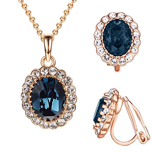Yoursfs Created Sapphire Jewelry Set for Women Oval Blue Crystal Rose GP Clip Earrings&Necklace