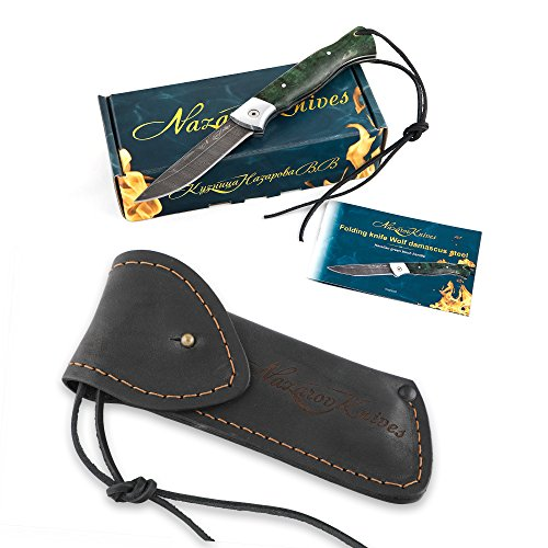 Folding Knife Special Edition – Pocket Knife Wolf – Real Damascus Steel – Karelian Birch Handle – Durable Leather Sheath by Nazarov Knives (Image #6)