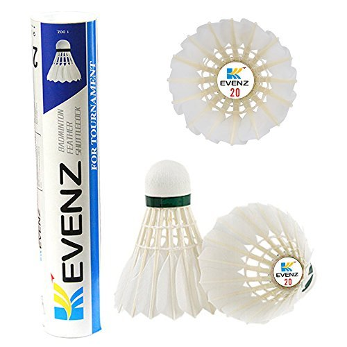 KEVENZ 12-Pack Goose Feather Badminton Shuttlecocks with Great Stability and Durability,Hight Speed Badminton Birdies Balls