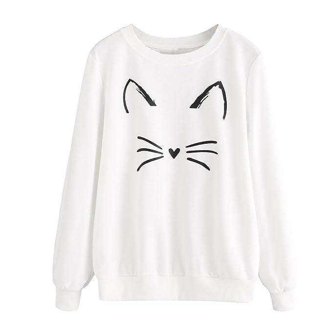 Koly Nuevo Gato Sudadera para Pareja Mujer Largas Negra Moda Suéter Tops Sudaderas con capucha Cat Sweatshirt Pullover Blusas Casual Camisa Entrenamiento ...
