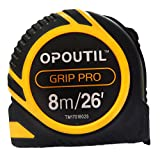 OPOUTIL Tape measure retractable 25ft double sided inches measuring tape auto-lock power tape ruler professional 26' tape measure holder for belt