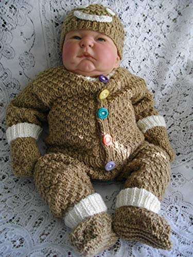 DollieBabies Knitting Pattern 19 Gingerbread Man Outfit 0-3 Months ()