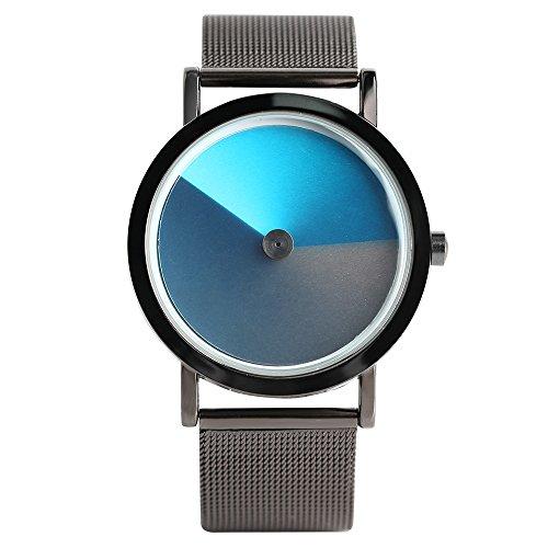 Turntable Geek Watch for Men & Women, No Pointer Gradient Color Dial, Vortex Design, Cool Unisex Spiral Wristwatch (Gray&Blue)