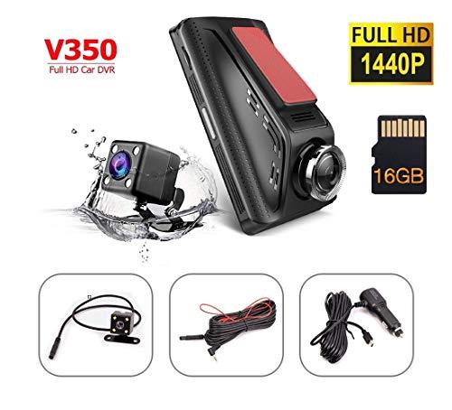 HKXLT- Dual Dash Cam,Car DVR Camera,1080p Effort H6 HD Front and Rear Night Vision Car Camera, 1080p+720p Dual Lens Night Vision Dash Cam Video Recorder,3.5