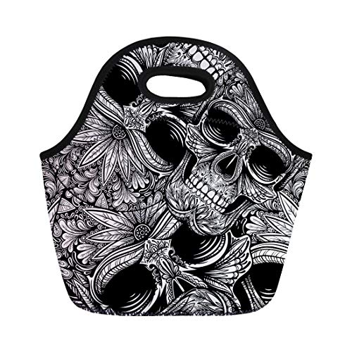 Semtomn Lunch Tote Bag Pattern Black and White Tattoo Skull Flower Halloween Dead Reusable Neoprene Insulated Thermal Outdoor Picnic Lunchbox for Men -