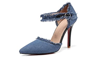 5d72544a294 Women Fashion Distressed Denim Open Toe High Heel Pointed Cowboy Mid Calf Sexy  high Heel Shoes