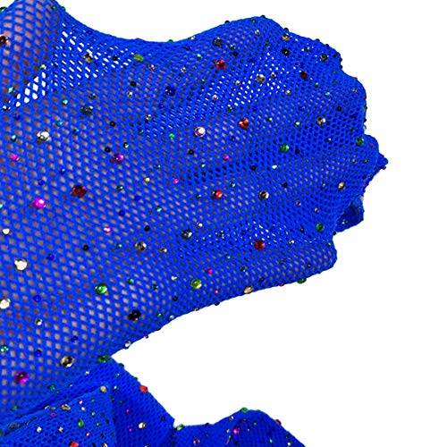 Blue Fishnet Tights (Sexy Mesh Stockings Colorful Sparkle Crystal Rhinestone Fishnets High Waist Tights (Free Size,)
