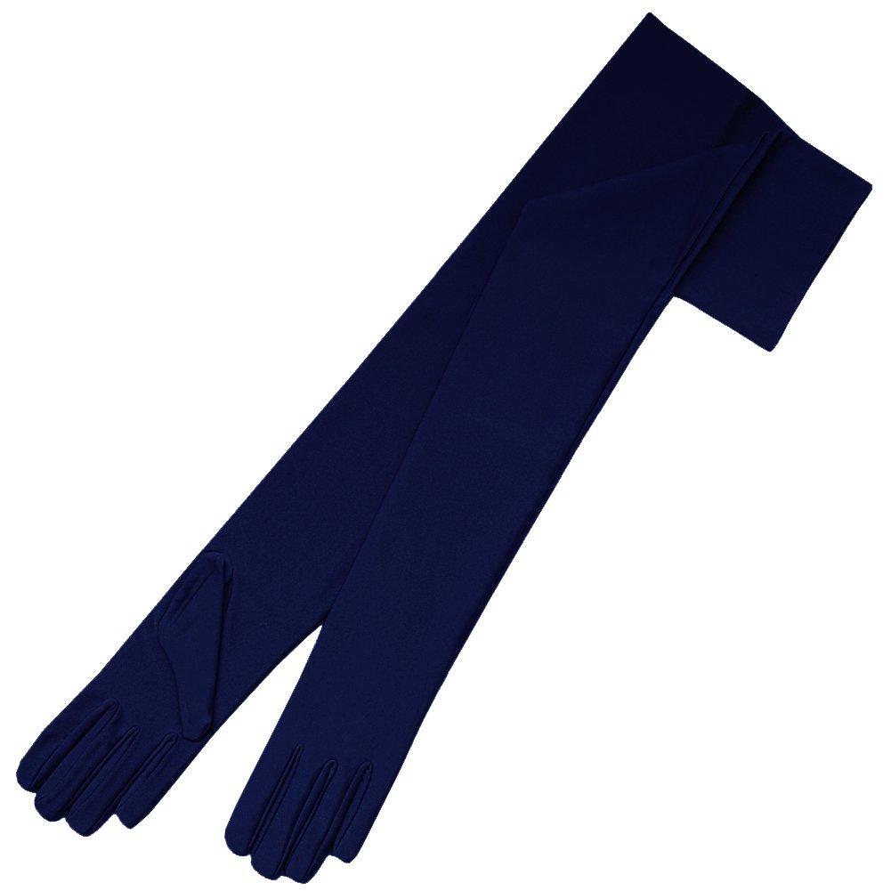 ZaZa Bridal 23.5'' Long 4-Way Stretch Matte Finish Satin Dress Gloves Opera Length 16BL-Dark Navy