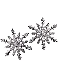 YACQ Jewelry Snowflake Stud Earrings CZ Cubic Zirconia Christmas Thanksgiving Party Gifts for Women Teen Girls