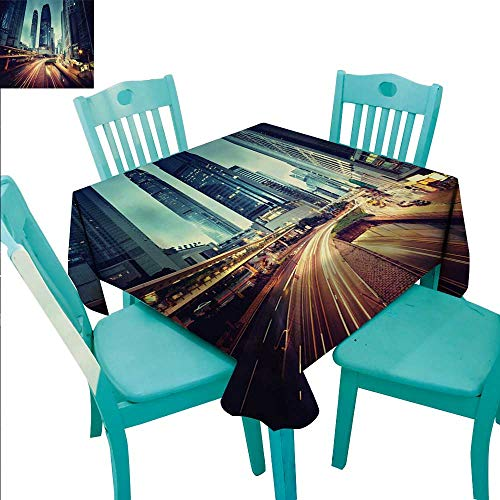 Urban Washable Table Cloth Traffic In Hong Kong Picture Sunset China Modern Life High Rise Buildings Washable Polyester - Great for Buffet Table, Parties, Holiday Dinner, Wedding & More 70