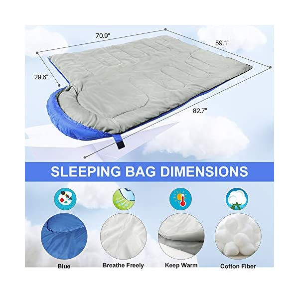 Vocado Sleeping Bag, Double Envelope Sleeping Bag, Indoor & Outdoor Use, Portable, Lightweight and Compact Sleeping Bags for Kids, Adults, Teens, 3-4 Seasons Camping, Hiking, Traveling, Backpacking 5