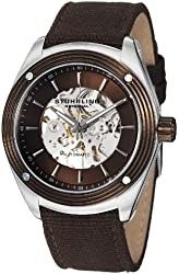 Stuhrling Original Men's 8209C.331OK59 Leisure Millennia Venture Skeleton Brown Canvas Strap Watch