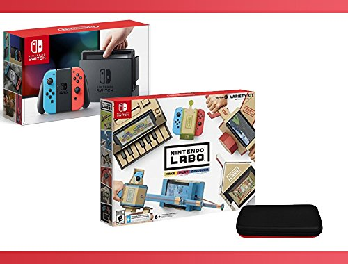 Nintendo Switch - Neon Blue and Red Joy-Con + Nintendo Labo ( Variety Kit ) + Nintendo Switch Travel Carrying Case Bundle ( 3 - Items )