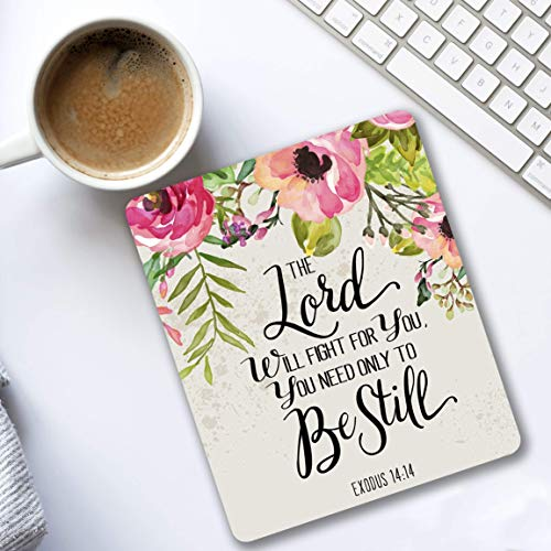 The Lord will fight for you Exodus 14:14 Christian quote - Cubicle Decor Mouse pad with bible verse - Pretty office Decorate your space pink, green, gray floral design - Gifts for women]()