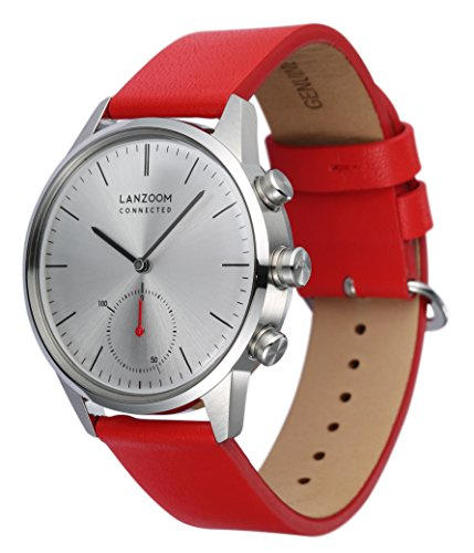 LANZOOM Series Weser Mens Wristwatch Multifunction Android iOS Quartz Smart Watch 5ATM Water Resistant Best Gift For Him (White + Red) by LANZOOM