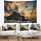 Designart TAP9418-39-32 'Yellow Atlantic Coast in Spain' Seashore Photo Tapestry Blanket Décor Wall Art for Home and Office, Medium: 39'' x 32'', Created on Lightweight Polyester Fabric
