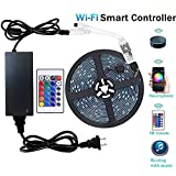 Efyly YHG Wifi Wireless Smart Phone Controlled Led Strip Light Kit with DC12V UL Listed Power Supply Waterproof SMD 5050 150leds RGB Timer LED Tape Lights Work with Android, IOS and Alexa