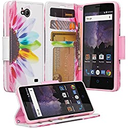 ZTE Majesty Pro Case, ZTE Tempo Case, Luxury PU Wrist Strap Leather Wallet Flip Protective Case Cover with Card Slots and Stand for ZTE Majesty Pro Z799VL / ZTE Tempo N9131 - (Sun Flower)