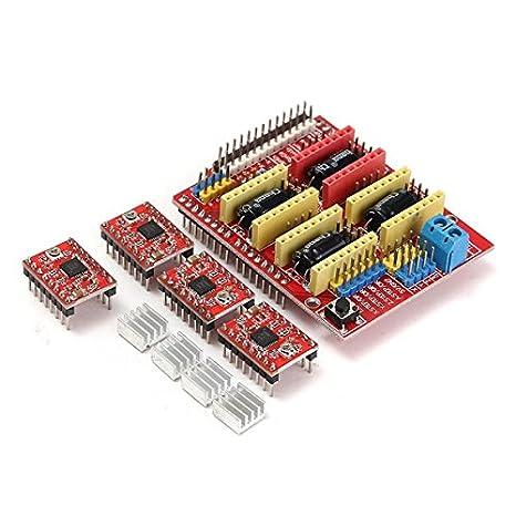Ils - CNC Placa del Protector + 4 Piezas a4988 Conductor del Motor ...