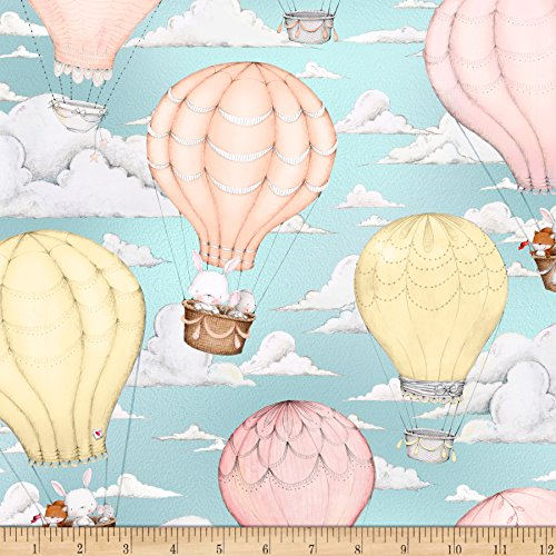 QT Fabrics up up & Away Hot Air Balloon Scenic Robin's Egg Blue ()