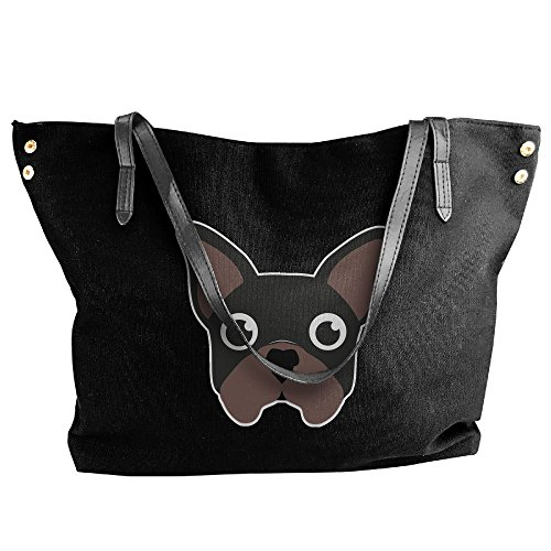 Messenger Handbag Shoulder French Tote Black Bags Bulldog Large Canvas Women's 6Hxq07q