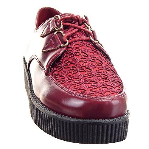 Rojo Moda Tobillo de derby Plataforma de encaje 4 Sopily plataforma Zapatillas Zapatillas Talón CM zapato mujer 1EwZH