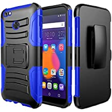 Alcatel Idol 5 Case, Alcatel Nitro 5 Case, BornTech Heavy Duty Dual Layer Build in Kick stand with Belt Clip Holster Combo Rugged Phone Case Cover (Blue/Black)
