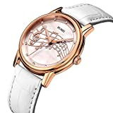BUREI Womens White Dial Mother Pearl Dress Watches with Diamond Analog Mineral Genuine Leather Band