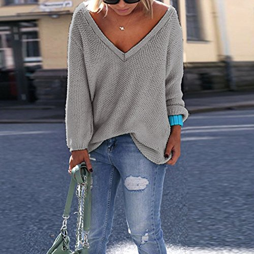 Automne Femme Cabina Sexy Longues Tricotage Lache V Coton Gris Tops Hiver en Manches La de Sweater Col Casual Pullover Pull Tq5FwF