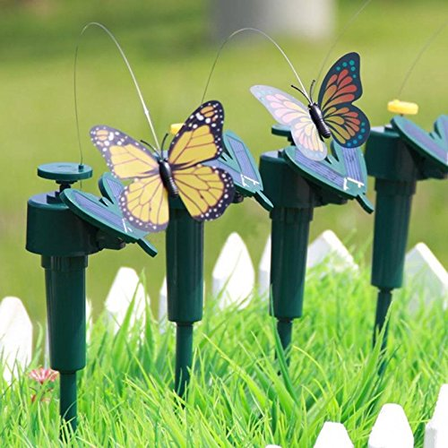 Gold Happy Vibration Solar Power Flying Butterfly Dancing Flying Fluttering Butterflies Garden Decoration