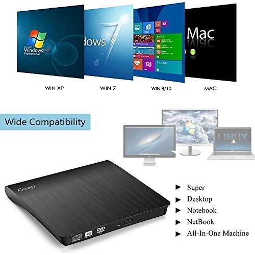 Cocopa External CD DVD Drive USB 3.0 Protable CD DVD +/-RW Drive Slim DVD/CD ROM Rewriter Burner Writer, High Speed Data Compatible with Laptop Desktop MacBook Windows10/8/7/XP/Vista/Mac OS by Cocopa (Image #4)