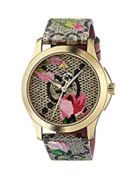 Gucci YA1264038 Gold Plated Floral Blooms Leather Strap Ladies Watch