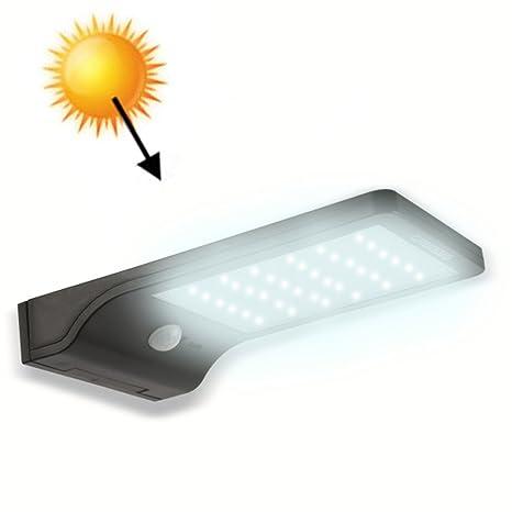Lámpara solar de pared 36 LED aplique de energía solar con sensor crepuscular y sensor de