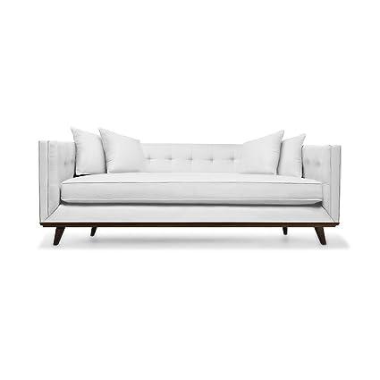 Attirant South Cone Home COLTUFSOF108/WHITE Colin Tufted Linen Sofa, 108u0026quot;, ...