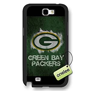 Personalize NFL Green Bay Packers Team Logo Frosted Black Samsung Galaxy Note 2 Case Cover - Black