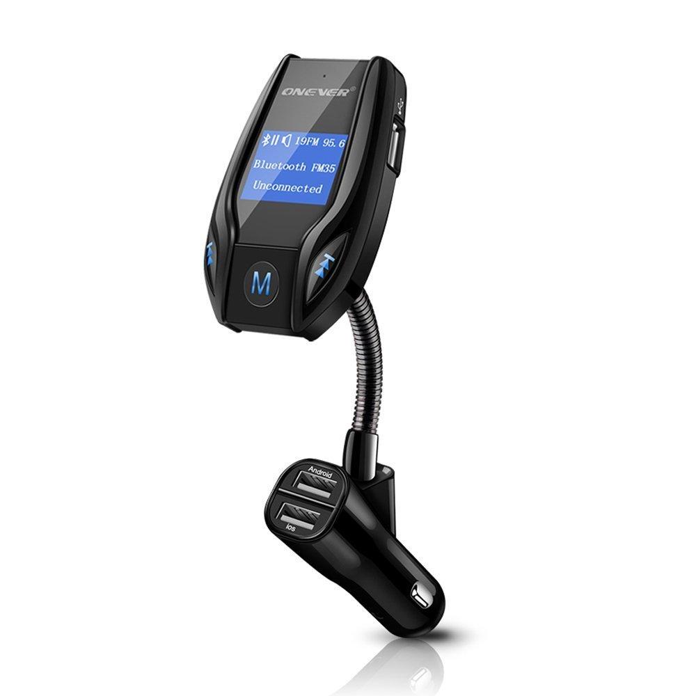 ONEVER Transmetteur FM Bluetooth - 3 USB Chargeur Allume-Cigare - Adaptateur Radio pour Lecteur MP3 sans Fil Récepteur d'appel Mains Libres, Prise en Charge de la Carte Micro SD, entrée/Sortie AUX,