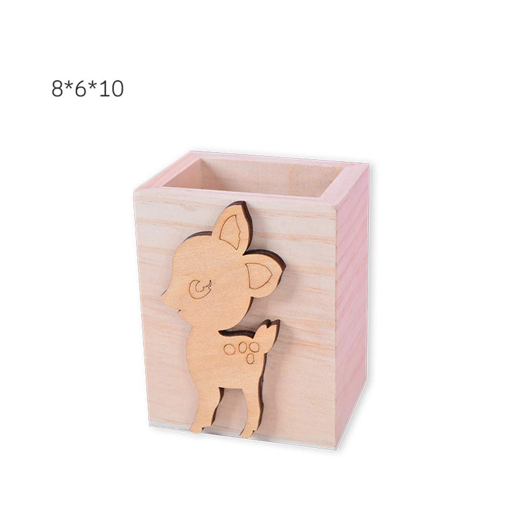 XYQS Creative Children's Stationery Square Wooden Pen Holder, Solid Wood Stationery Storage Box, Desktop Decoration Decoration Crafts, Children's Room Bedside Decoration (Color : A)