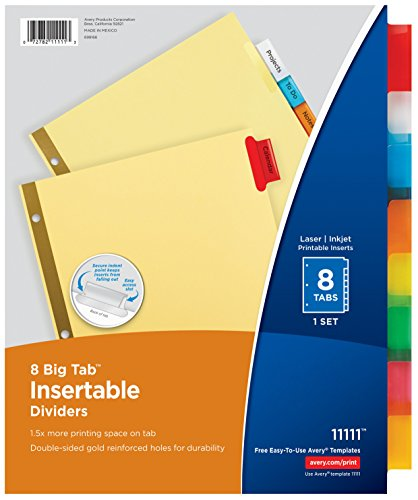 able Dividers Buff Paper, 8 Multicolor Tabs, 48 Sets (11111) (Insertable Tab)