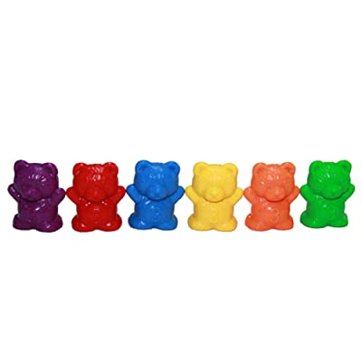 Alician Rainbow Counting Bears Muffin Cups Montessori Color Sorting Matching Game Kid Baby Early Educational Toys 3g six Color Bear 60pcs: Toys & Games