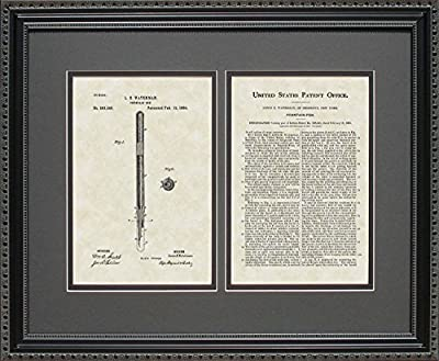 Fountain Pen Patent Art Wall Hanging | Writer Editor Print 16x20
