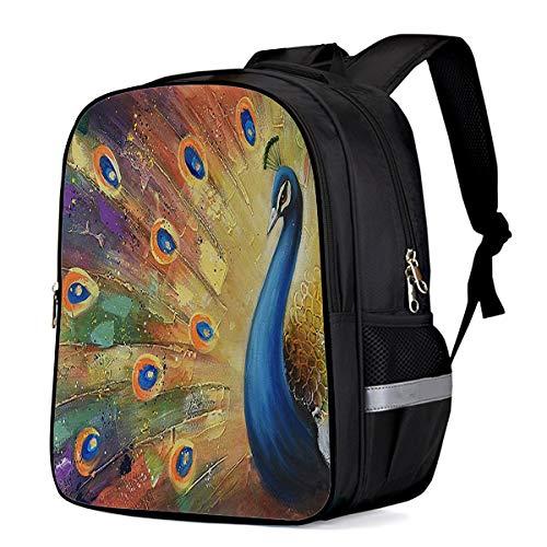 Backpack for Children/Boys/Girls Peacock Flaunting Its Tail 3D Printing Shool Book Bag Daypacks Satchel Rucksack Hiking Travel Shoulders Bag Fits Laptop-Large