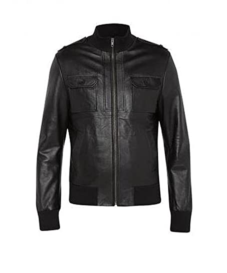 MENS LEATHER BOMBER JACKET: Amazon.co.uk: Clothing