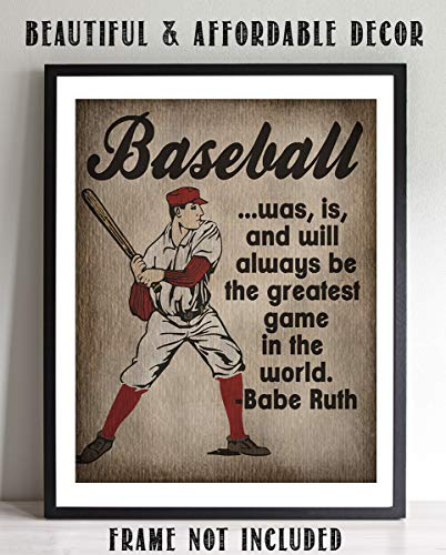 """Baseball-Greatest Game in the World""-Babe Ruth Quotes Poster Print- 8 x 10""- Retro Sports Wall Decor-Ready to Frame. Baseball Typographic Art. Home-Office Décor. Perfect for Locker Room-Man Cave."