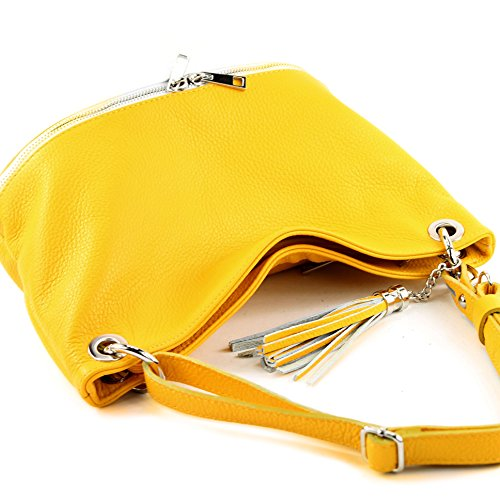 en de modamoda Gelb T143 cuir cuir épaule en dames ital d'épaule Weiß sac sac sac gtHHnxpFwq