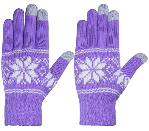 Chalier Womens Winter Warm Thick Knit Phone Texting Touch Screen Gloves Mittens Light Purple One size