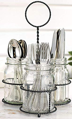Home Essentials & Beyond Mason Jar Flatware Silverware Kitchen Utensil Dinnerware Tableware Holder Caddy in Wire Basket Ideal for Kitchen, Dining, Entertaining, Tailgating, Picnics Set of 3
