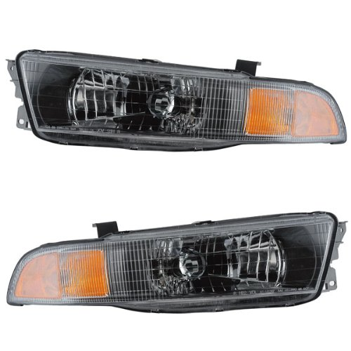 Galant Headlamps Mitsubishi Headlight (2002-2003 Mitsubishi Galant Front Head Light Lamp Headlight Headlamp Set Pair Right Passenger AND Left Driver Side (03 02))