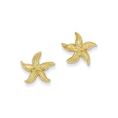Amazoncom 14k Gold Starfish Earrings 051 in x 047 in Stud
