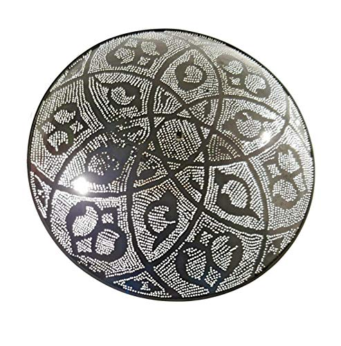 Handcrafted Tin - BM16 Circle Round Handcrafted Tin Moroccan Silver Sconce Wall Decor LED Lamp